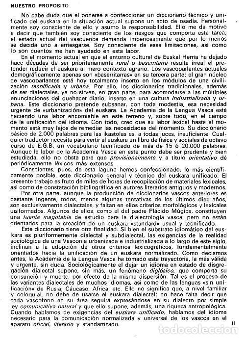 Diccionarios de segunda mano: DICCIONARIO GENERAL Y TECNICO. 1. CASTELLANO - EUSKARA. LUIS Mª MUGICA. PAIS VASCO. - Foto 3 - 154957378