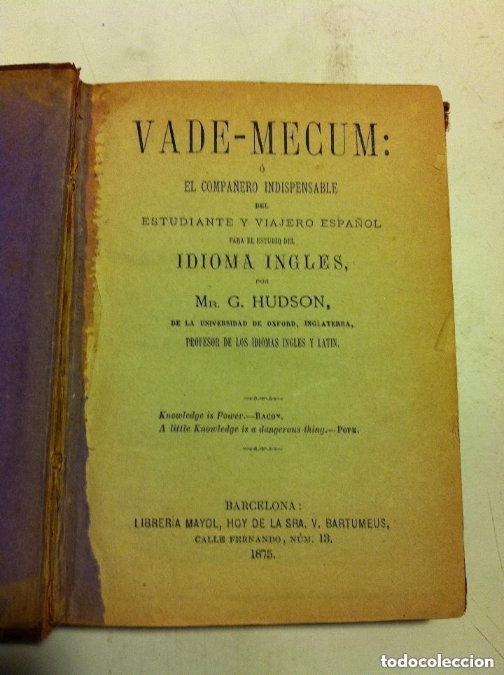 VADEMECUM - IDIOMA INGLÉS - AÑO 1875 (Libros de Segunda Mano - Diccionarios)