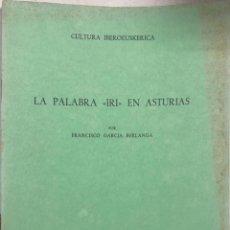 Diccionarios de segunda mano: LA PALABRA IRI EN ASTURIAS. FRANCISCO GARCIA BERLANGA. IMPRENTA ALDECOA. BURGOS, 1985.. Lote 166368862