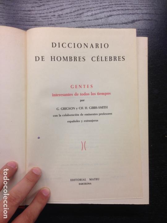 Diccionarios de segunda mano: DICCIONARIO DE HOMBRES CELEBRES, GRIGSON, G. Y GIBBS-SMITH, CH. H., 1960 - Foto 2 - 166599298