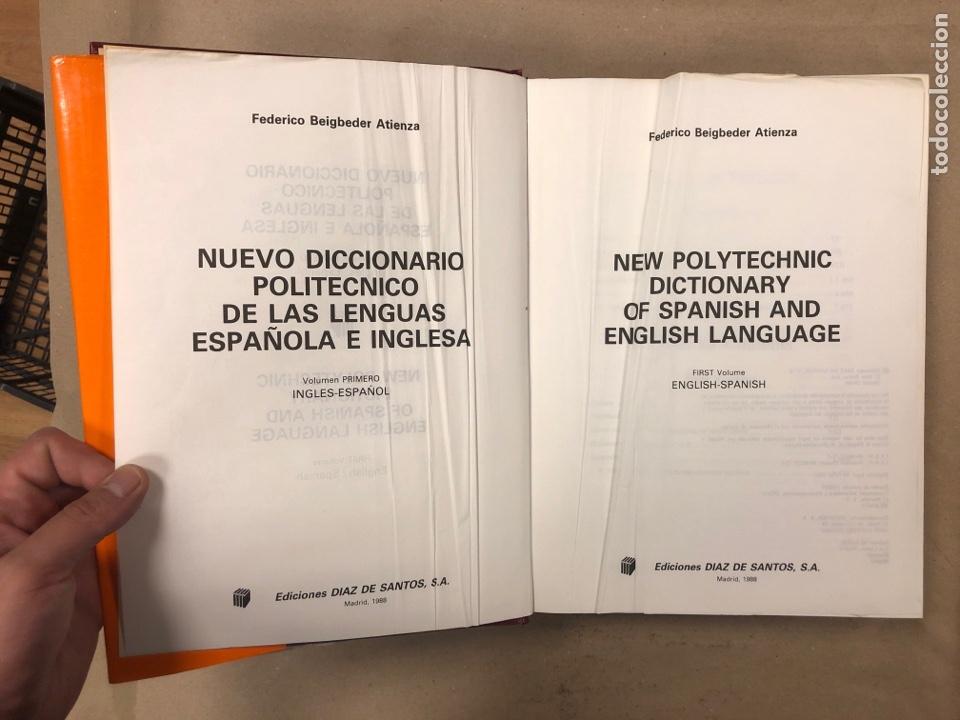 Diccionarios de segunda mano: NUEVO DICCIONARIO POLITÉCNICO DE LAS LENGUAS ESPAÑOLA E INGLESA (2 TOMOS). FEDERICO BEIGBEDER ATIENZ - Foto 4 - 168034270