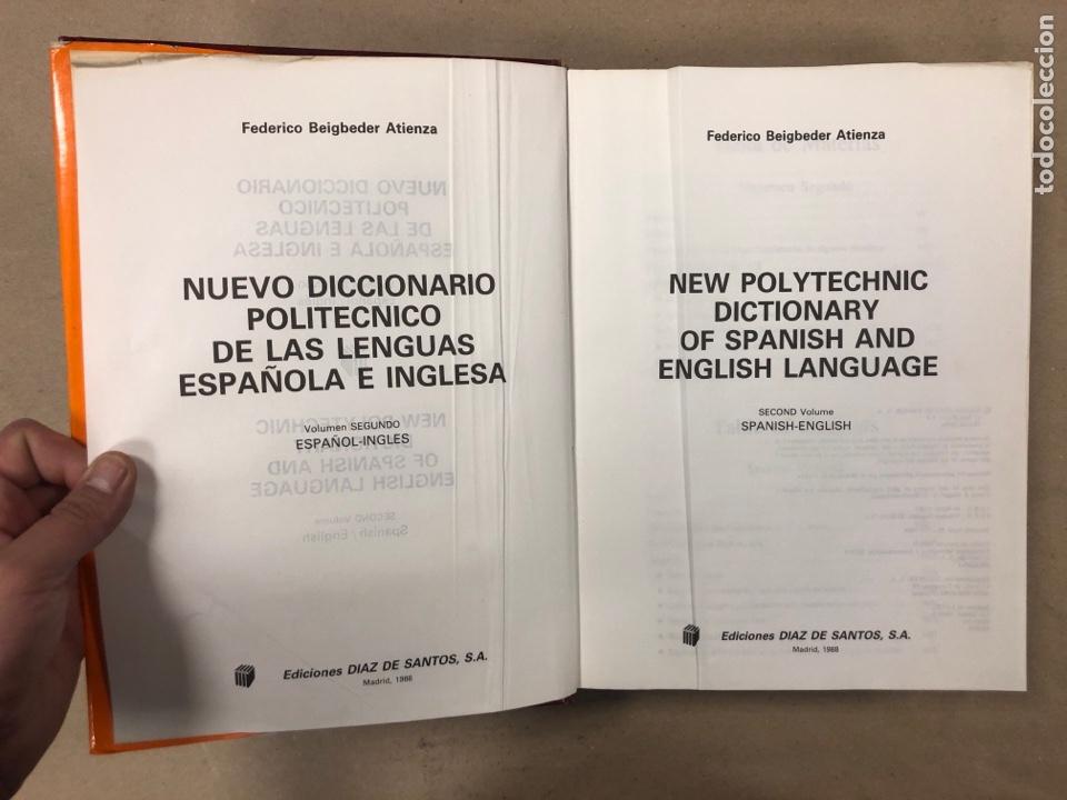 Diccionarios de segunda mano: NUEVO DICCIONARIO POLITÉCNICO DE LAS LENGUAS ESPAÑOLA E INGLESA (2 TOMOS). FEDERICO BEIGBEDER ATIENZ - Foto 13 - 168034270