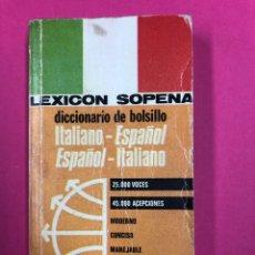 Diccionarios de segunda mano: LEXICON SOPENA DICCIONARIO DE BOLSILLO ITALIANO-ESPAÑOL ESPAÑOL-ITALIANO. Lote 169221288