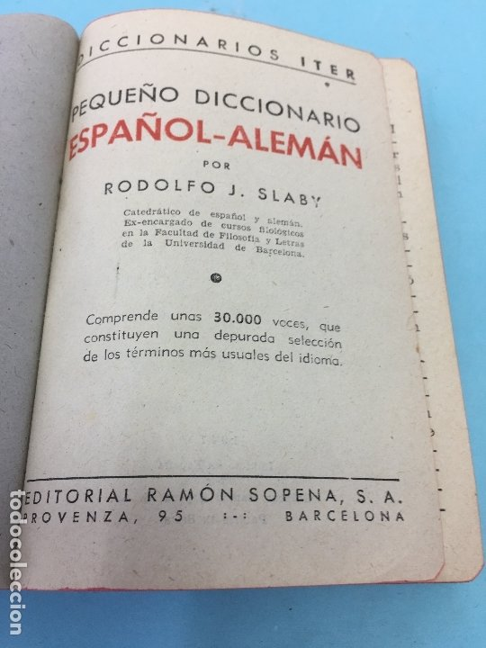 Diccionarios de segunda mano: PEQUEÑO DICCIONARIO ESPAÑOL - ALEMAN, DICIONARIO ITER, RAMON SOPENA S.A , 1947 - Foto 3 - 172648227