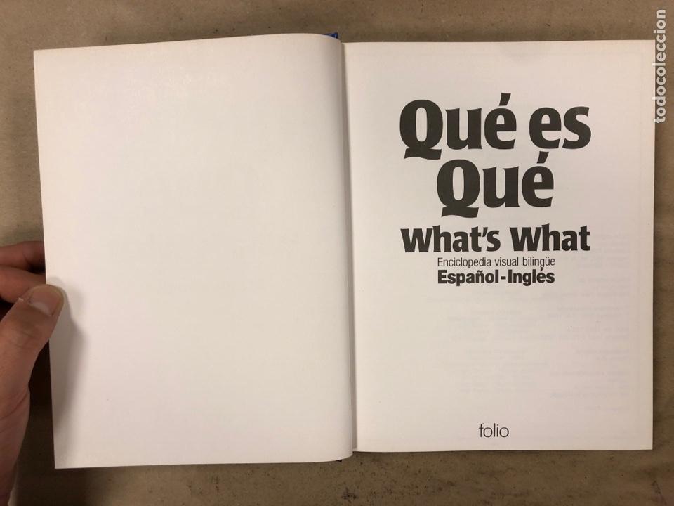 Diccionarios de segunda mano: QUÉ ES QUÉ - WHAT'S WHAT. ENCICLOPEDIA VISUAL BILINGÜE ESPAÑOL-INGLÉS. EDICIONES FOLIO 1988 - Foto 2 - 174583134