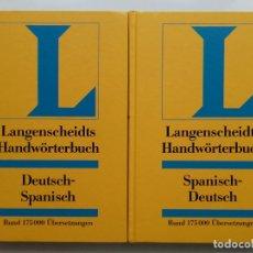 Diccionarios de segunda mano: LANGENSCHEIDTS HANDWORTERBUCH - SPANISCH-DEUTSCH / DEUTSCH-SPANISCH - DICCIONARIO ALEMAN-ESPAÑOL. Lote 176478115