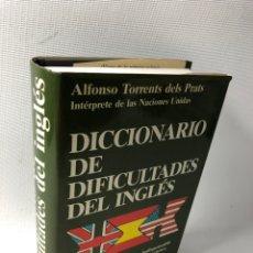 Diccionarios de segunda mano: DICCIONARIO DE DIFICILTADES DEL INGLES ···ALFONSO TORRENTS DELS PRATS ·· EDIT. DICCIONARIOS JUVENTU. Lote 179532740