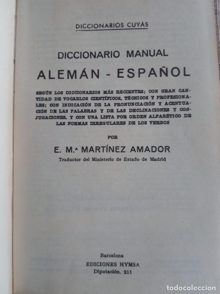 Diccionarios de segunda mano: Diccionario Manual Alemán Español Cuyas. Ediciones hymsa - Foto 3 - 183592298