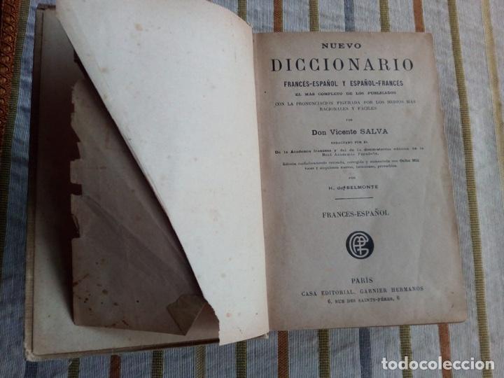 Diccionarios de segunda mano: Nuevo diccionario de Vicente salva Frances español Casa editorial garnier hermanos paris - Foto 3 - 183592998
