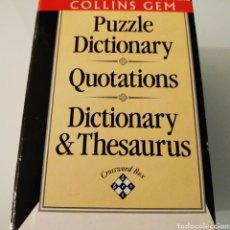 Diccionarios de segunda mano: COLLINS GEM PUZZLE DICTIONARY QUOTATIONS DICTIONARY & THESAURUS. Lote 186446002