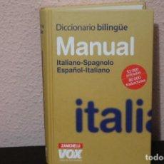 Diccionarios de segunda mano: DICCIONARIO BILINGÜE MANUAL ITALIANO SPAGNOLO ESPAÑOL-ITALIANO. Lote 188670858