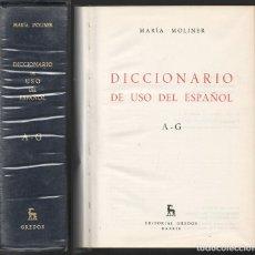 Diccionarios de segunda mano: DICCIONARIO DE USO DEL ESPAÑOL. A-G. V. DICCIONARIOS. 5. TOMO 1 - MOLINER, MARIA - A-INCOMP-379. Lote 189578605