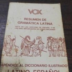 Diccionarios de segunda mano: VOX. RESUMEN DE GRAMATICA LATINA. LATINO- ESPAÑOL, ESPAÑOL- LATINO. . Lote 194396768