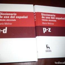Diccionarios de segunda mano: MARIA MOLINER, DICCIONARIO DEL USO DEL ESPAÑOL EDICION ABREVIADA 2 TOMOS, NUEVOS.2ª EDIC.2008.**528. Lote 195134641