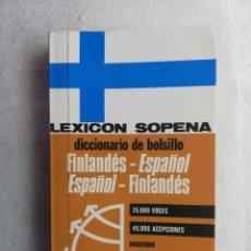 Diccionarios de segunda mano: LEXICON SOPENA. DICCIONARIO DE BOLSILLO. FINLANDÉS-ESPAÑOL-FINLANDÉS. EDITORIAL RAMON SOPENA. Lote 195368052