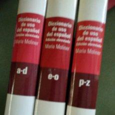 Diccionarios de segunda mano: DICCIONARIO DEL USO DEL ESPAÑO EDICION ABREVIADA MARIA MOLINER 3 TOMOS. Lote 195538877