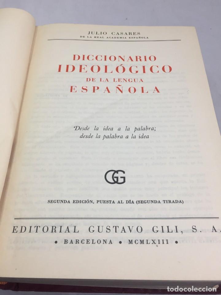 Diccionarios de segunda mano: Diccionario Ideologico de la Lengua Espanola Julio Casares, Editorial Gustavo Gili, 1963 - Foto 2 - 202665731
