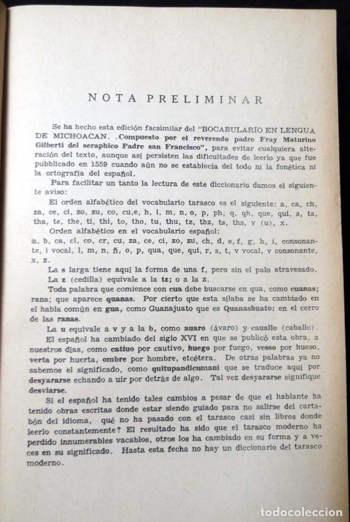 Diccionarios de segunda mano: DICCIONARIO DE LA LENGUA TARASCA, por MATURINO GILBERTI. México, 1983. - Foto 6 - 210828975
