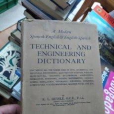 Diccionarios de segunda mano: TECHNICAL AND ENGINEERING DICTIONARY, R. L. GUINLE. L.4898-1337. Lote 213351721