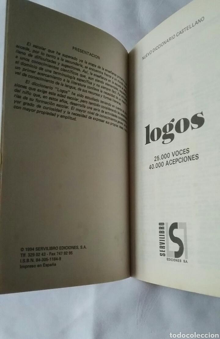Diccionarios de segunda mano: LOGOS. DICCIONARIO CASTELLANO. SERVILIBRO EDICIONES. 1994. - Foto 4 - 215799601