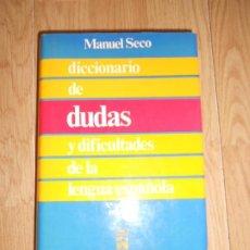 Livres d'occasion: DICCIONARIO DE DUDAS Y DIFICULTADES DE LA LENGUA ESPAÑOLA - MANUEL SECO - ESPASA-CALPE. Lote 218384928