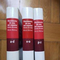 Livres d'occasion: MARÍA MOLINER: DICCIONARIO DE USO DEL ESPAÑOL. EDICIÓN ABREVIADA - GREDOS, 2008 - 3 TOMOS. Lote 219916986