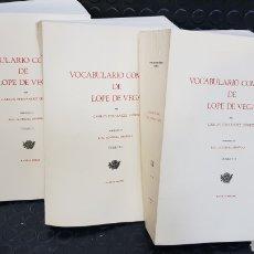 Diccionarios de segunda mano: FERNÁNDEZ GÓMEZ, CARLOS VOCABULARIO COMPLETO DE LOPE DE VEGA. 3 VOLS. Lote 222903057