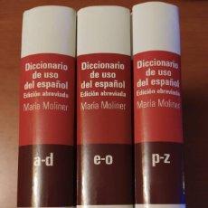 Diccionarios de segunda mano: 2008 - MARÍA MOLINER: DICCIONARIO DE USO DEL ESPAÑOL - COMPLETO 3 TOMOS. Lote 225847608