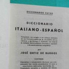 Diccionarios de segunda mano: DICCIONARIO ITALIANO-ESPAÑOL - CUYAS -1977. Lote 228354905