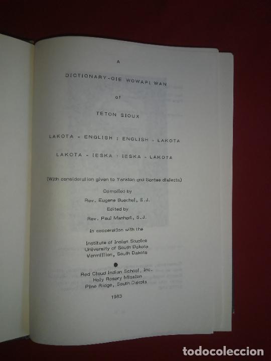 Diccionarios de segunda mano: DICCIONARIO LAKOTA SIOUX-INGLES - INDIOS AMERICANOS - BUECHEL - MUY RARO. - Foto 2 - 235246455