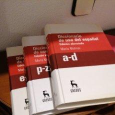 Diccionarios de segunda mano: DICCIONARIO DEL USO DEL ESPAÑOL. EDICIÓN ABREVIADA. MARIA MOLINER. 3 TOMOS.. Lote 241994080