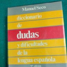 Diccionarios de segunda mano: MANUEL SECO. DICCIONARIO DE DUDAS Y DIFICULTADES DE LA LENGUA ESPAÑOLA. ESPASA CALPE 1991.. Lote 245378960