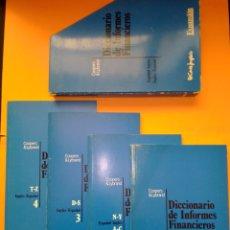 Diccionarios de segunda mano: 1990 DICCIONARIO DE INFORMES FINANCIEROS, COLECCION 4 TOMOS CON ESTUCHE, EL CORTE INGLES EXPANSION,. Lote 247933795