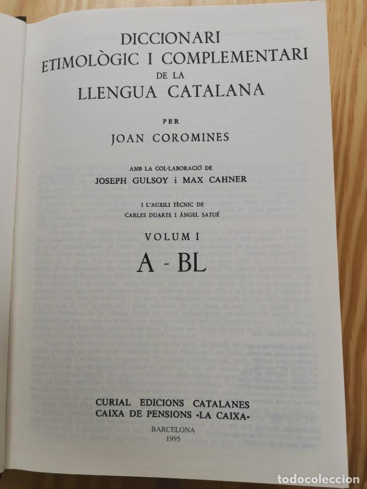 Diccionarios de segunda mano: Diccionari Etimológic i Complementari de la Llengua Catalana Joan Coromines 10 volums Catalán Lengua - Foto 3 - 257861040