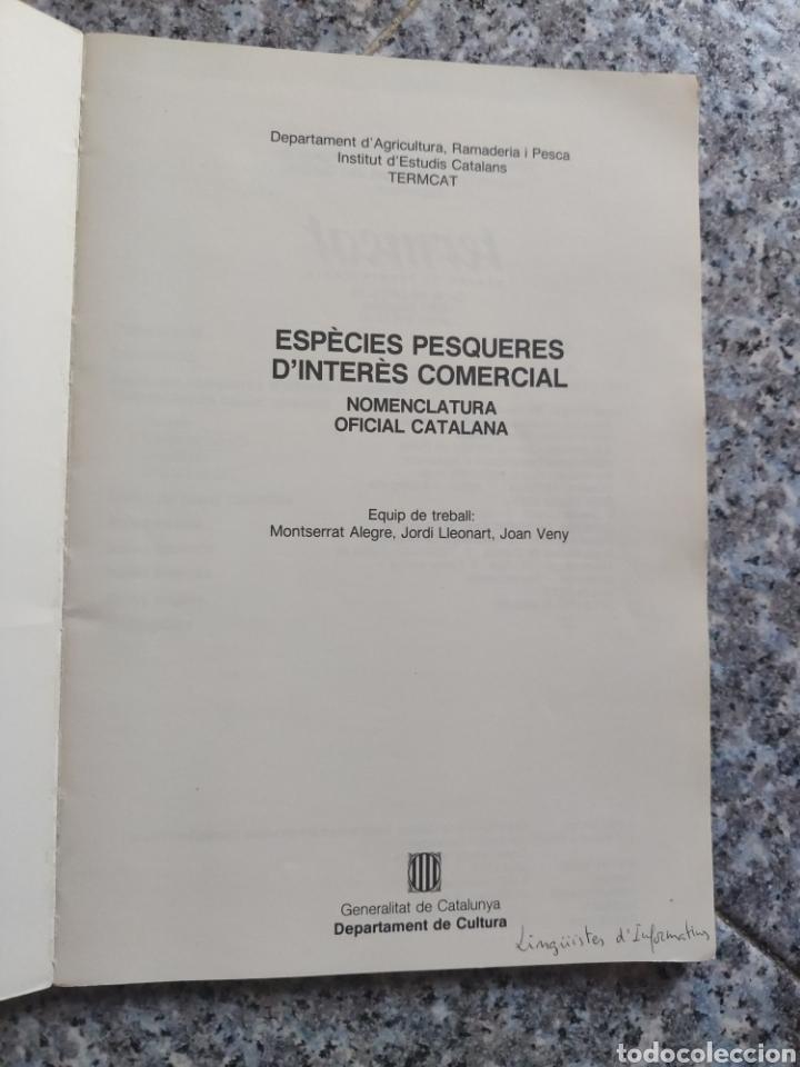 Diccionarios de segunda mano: ESPÈCIES PESQUERES DINTERÈS COMERCIAL NOMENCLATURA OFICIAL CATALANA - DEPARTAMENT CULTURA - Foto 2 - 262790765
