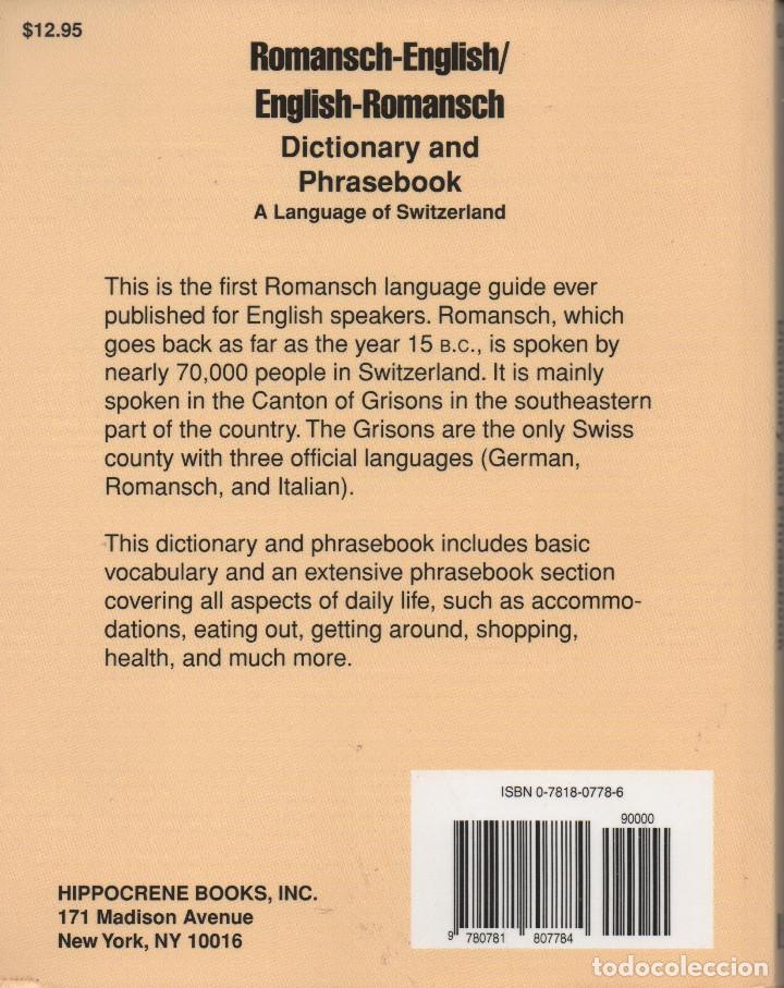 Diccionarios de segunda mano: Romansch-English/English-Romansch.Dictionary and Phrasebook.VVAA.HippocreneBooks.2000. - Foto 2 - 263235435