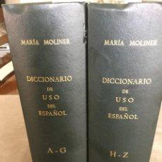 Diccionarios de segunda mano: DICCIONARIO DE USO DEL ESPAÑOL. I (A-G) Y II (H-Z). MARÍA MOLINER. OBRA COMPLETA.. Lote 263682060
