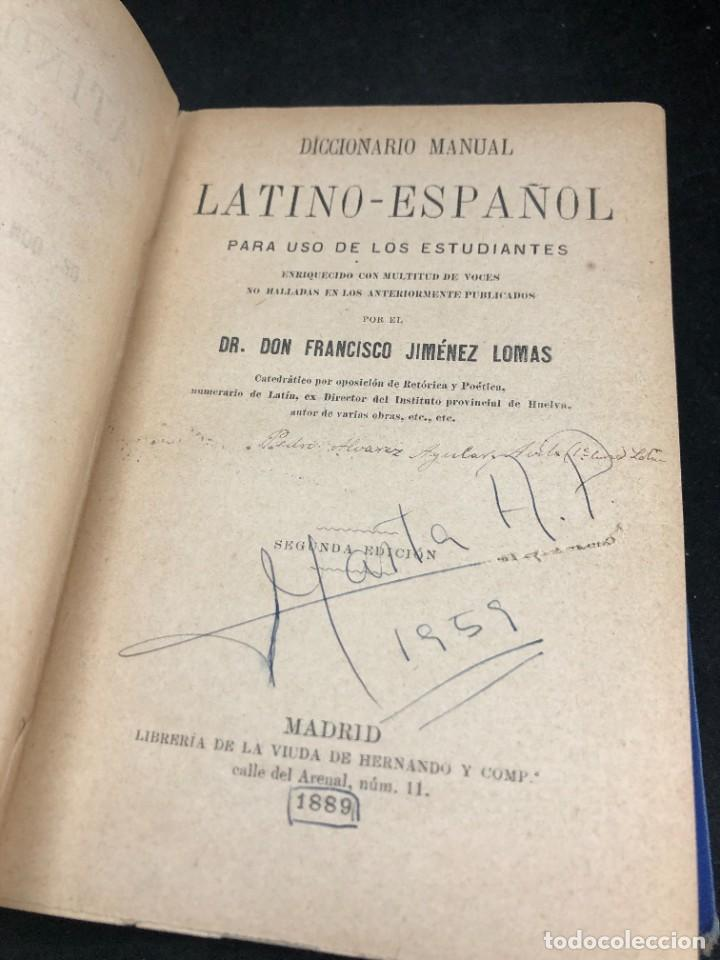 Diccionarios de segunda mano: DICCIONARIO MANUAL LATINO-ESPAÑOL.JIMENEZ LOMAS.1889, deteriorado - Foto 3 - 270867588