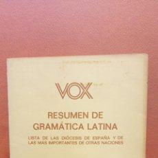 Libri di seconda mano: RESUMEN DE GRAMATICA LATINA. APENDICE AL DICCIONARIO LATINO ESPAÑOL. ESPAÑOL - LATINO. VOX. Lote 275841428