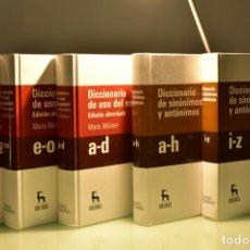 Diccionarios de segunda mano: DICCIONARIO ABREVIADO MARÍA MOLINER (3 VOLS.) + DICCIONARIO DE SINÓNIMOS Y ANTÓNIMOS (2 VOLS.). Lote 277049613