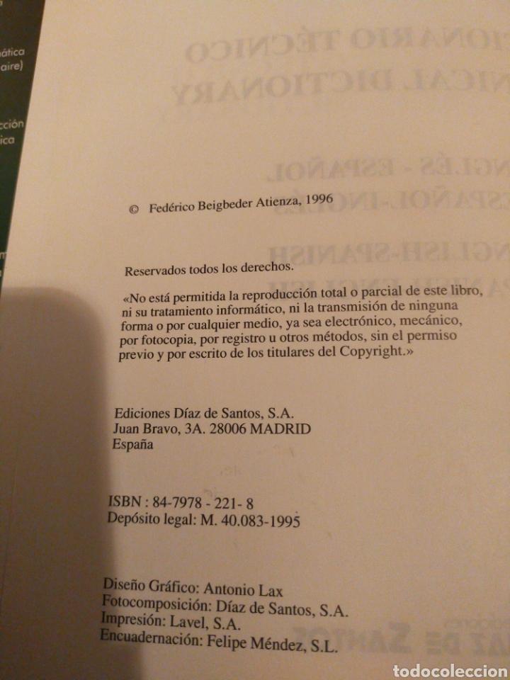 Diccionarios de segunda mano: DICCIONARIO TÉCNICO INGLÉS -ESPAÑOL F. BEIGBEDER ESTADO NORMAL BUENO - Foto 3 - 277187428