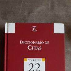 Diccionarios de segunda mano: LIBRO DICCIONARIO DE CITAS, BIBLIOTECA EL MUNDO VOL.22, EDIT. ESPASA, 2004. AUTOR LUIS SEÑOR GONZÁLE. Lote 287251653