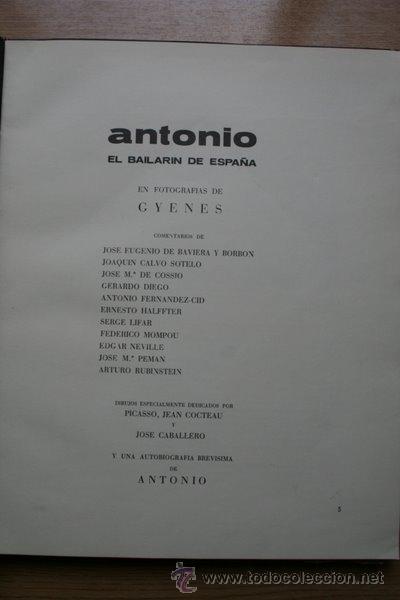 ANTONIO EL BAILARÍN DE ESPAÑA, EN FOTOGRAFÍAS DE… GYENES (Libros de Segunda Mano - Bellas artes, ocio y coleccionismo - Diseño y Fotografía)