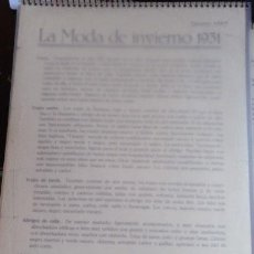 LA MODA DE INVIERNO 1931.