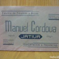 Libros de segunda mano: ANTIGUO CATALOGO FUNERARIO. FÁBRICA DE FERECTRS Y ARCAS.MANUEL CORDUVA. JÁTIVA. VALENCIA. Lote 117987459