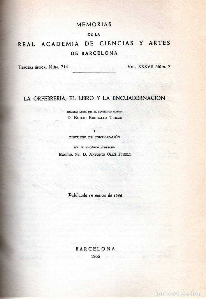 Libros de segunda mano: BIBLIOFILOS,EL LIBRO Y ENCUADERNACION,DEL MAESTRO ENCUADERNADOR EMILIO BRUGALLA,FIRMADO Y DEDICADO - Foto 2 - 147677622