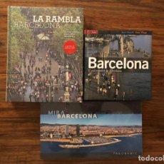 Libros de segunda mano: LOTE DE 3 LIBROS SOBRE BARCELONA. LAS RAMBLAS. EL PALIMPSEST DE BARCELONA Y MIRA BARCELONA . NUEVOS. Lote 171456034