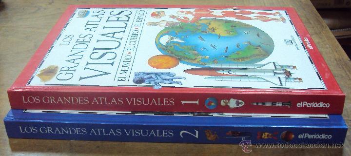 LOS GRANDES ATLAS VISUALES TOMOS 1 Y 2 (EL PERIODICO 1991) VER FOTOS (Libros de Segunda Mano - Enciclopedias)