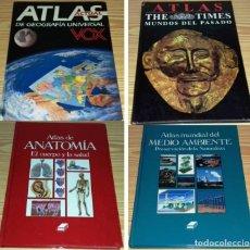 Enciclopedias de segunda mano: LOTE DE 4 ATLAS. ANATOMIA-GEOGRAFIA-MUNDOS DEL PASADO-MEDIO AMBIENTE.. Lote 95569547
