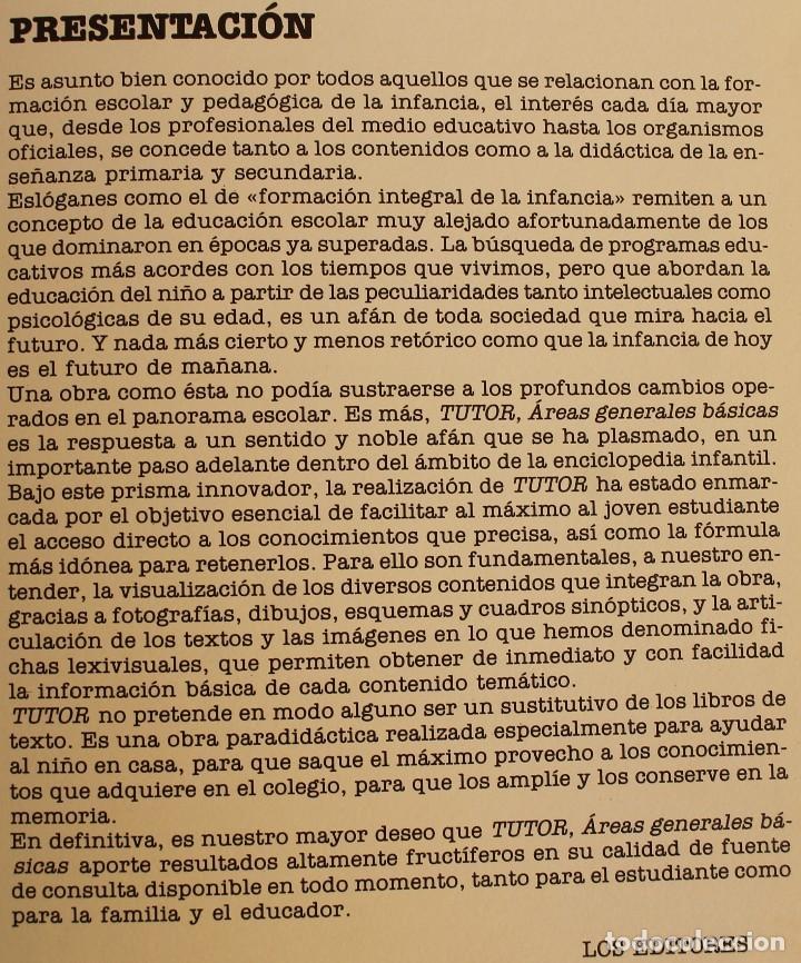 Enciclopedias de segunda mano: TUTOR , AREAS GENERALES BASICAS - OBRA COMPLETA EN 11 TOMOS - LIBROS MEDIO DE CONSULTA ORIENTACION - Foto 2 - 124594595